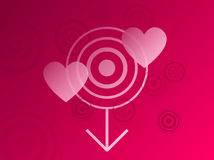 Fond rougeâtre rose avec le détail de coeur Images libres de droits