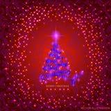 Fond rouge abstrait avec l'arbre et les étoiles de Noël Photo libre de droits