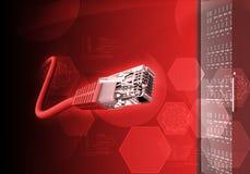 Fond rouge abstrait avec le câble Photo libre de droits