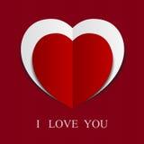 Fond rouge abstrait de papier de coeur. Image stock