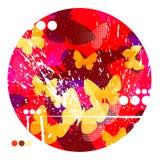Fond rouge abstrait de papillons Images libres de droits