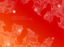 Fond rouge abstrait fait à partir des triangles Photos stock