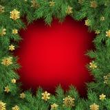 Fond rouge avec des branches d'arbre de Noël Calibre de fête de Noël de branche verte de pin ENV 10 illustration de vecteur