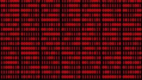 Fond rouge avec des descendre de code binaire sur l'écran numérique