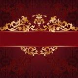 Fond rouge avec des ornements d'or Photographie stock libre de droits