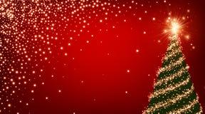 Fond rouge avec l'arbre de Noël illustration de vecteur