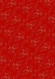 Fond rouge avec l'ornementde vintagede seamlessde pinkImage stock