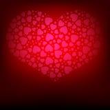 Fond rouge avec la collection de coeurs Image stock