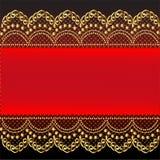 Fond rouge avec la configuration et le réseau de l'or (en) Image stock