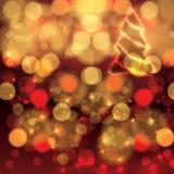 Fond rouge coloré de lumières oranges de Noël Images libres de droits