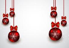 Fond rouge de boules de Noël Photographie stock