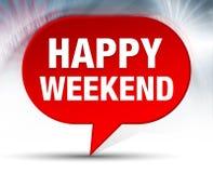 Fond rouge de bulle de week-end heureux illustration libre de droits