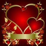 Fond rouge de coeurs de Valentines Photo stock