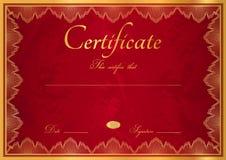 Fond rouge de diplôme/certificat avec la frontière Photos stock