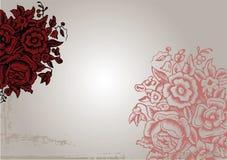 Fond rouge de fleur de cru initial Photographie stock libre de droits