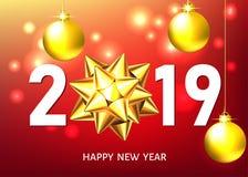 Fond rouge de la nouvelle année 2019 avec l'arc d'or de cadeau illustration libre de droits