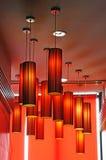 Fond rouge de lampes Image libre de droits