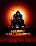 Fond rouge de maison hanté par Halloween Photographie stock libre de droits