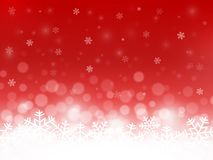 Fond rouge de neige Flocons de neige avec les particules et le bokeh Contexte brouillé Fond de Noël Thème d'hiver de vacances Déf Illustration de Vecteur