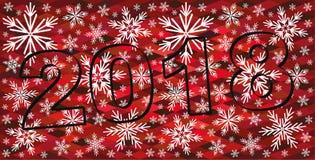 Fond rouge de Noël abstrait avec des flocons de neige 2018 célèbrent le fond Image libre de droits