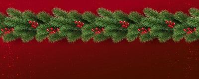 Fond rouge de Noël avec des branches d'arbre décorées des baies, lumières, flocons de neige illustration stock