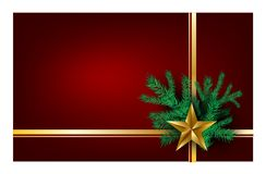 Fond rouge de Noël avec la bonne année d'arbre de Noël pour souhaiter la carte, rubans d'or de cartes de voeux avec l'étoile d'or Illustration Libre de Droits