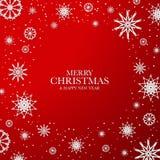 Fond rouge de Noël avec les flocons de neige blancs Images stock
