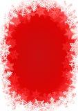 Fond rouge de Noël encadré par flocon de neige Photographie stock libre de droits