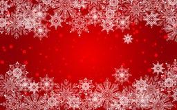 Fond rouge de Noël et de nouvelle année avec des flocons de neige, neige illustration stock
