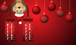 Fond rouge de nouvelle année avec les boules et le singe de Noël Photographie stock libre de droits