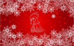 Fond rouge de nouvelle année avec les flocons de neige, la neige et le coq blancs illustration stock