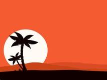 Fond rouge de rétro vacances avec le coucher du soleil et la paume Images stock