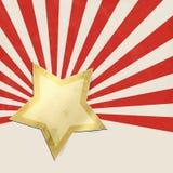 Fond rouge de starburst avec l'étoile d'or Photos libres de droits
