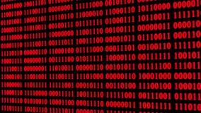 Fond rouge de technologie avec des descendre de code binaire sur l'écran numérique