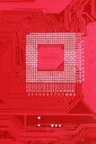 Fond rouge de texture de carte de carte mère d'ordinateur Images libres de droits