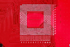 Fond rouge de texture de carte de carte mère d'ordinateur Images stock