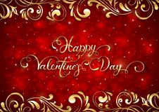 Fond rouge de valentines avec des coeurs et des éléments fleuris d'or Photos libres de droits