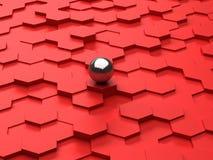 Fond rouge des hexagones 3d et de la sphère en acier Images libres de droits