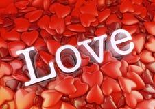 Fond rouge drôle de coeur d'amour Images stock