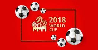 Fond rouge du football avec des ballons de football et l'ornement symbolique illustration de vecteur