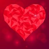 fond rouge en cristal de coeur d'amour de jour de valentines Photos stock