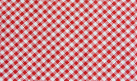 Fond rouge et blanc de nappe, tissu de plaid Photographie stock libre de droits