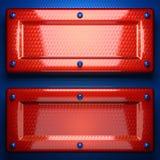 Fond rouge et bleu en métal Photos libres de droits