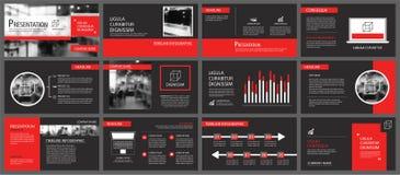 Fond rouge et noir de calibres de présentation de diapositives Infograph Photographie stock