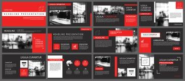 Fond rouge et noir de calibres de présentation de diapositives Infograph Image libre de droits