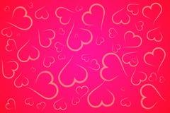 Fond rouge et rose d'illustration de coeurs Photo stock