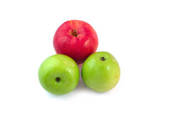 Fond rouge et vert de blanc d'isolat de pomme images libres de droits