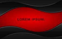 Fond rouge foncé abstrait avec les bandes onduleuses noires Belles lignes Style serré en métal Bannière pour des sites Web L'espa Photo stock