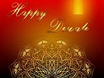 Fond rouge heureux de vecteur de Diwali, festival des lumières indou illustration libre de droits