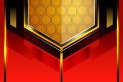 Fond rouge métallique de technologie géométrique Images stock